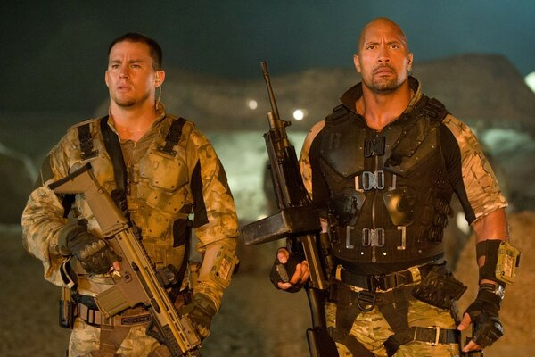 Channing Tatum and Dwayne Johnson still from the film Cobra