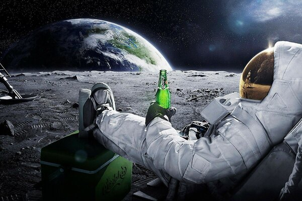 earth beer carlsberg astronaut space Moon astronaut