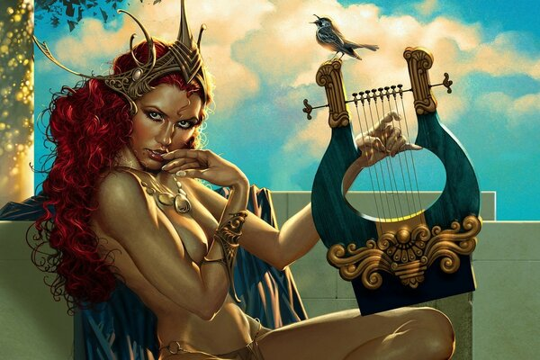 Redheaded Muse with harp