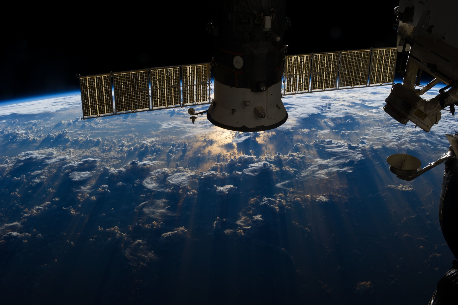 The ISS orbiting the Earth