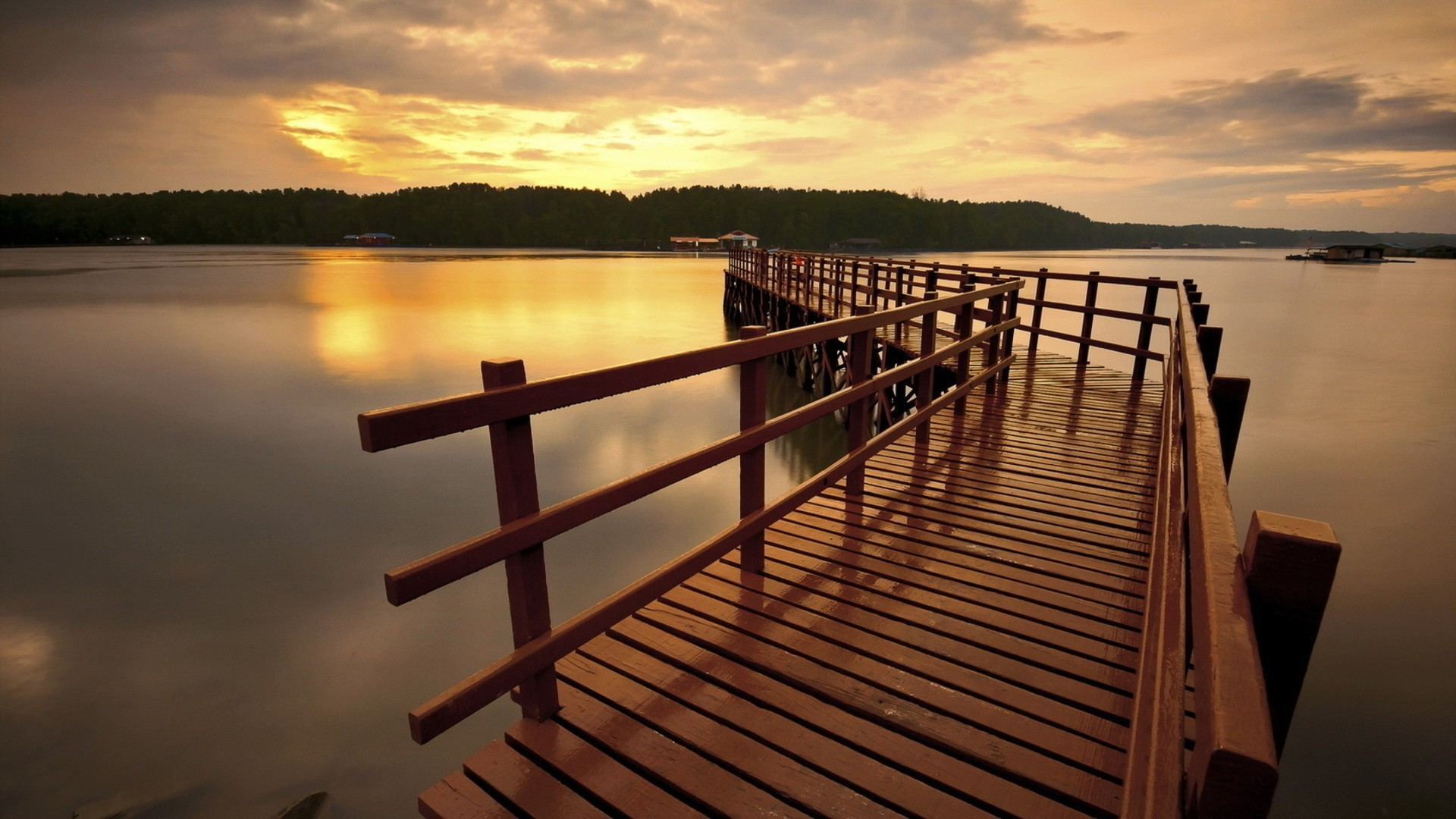 Wooden Wharf Along The Wide River Android Wallpapers