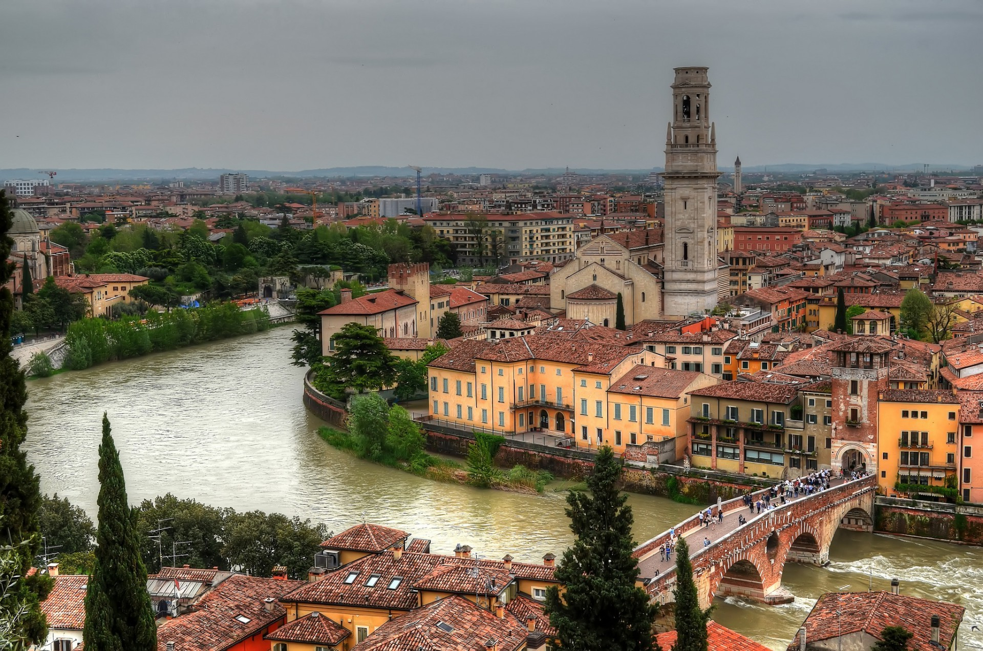 The Ponte Pietra over the river Adige at Verona in Italy