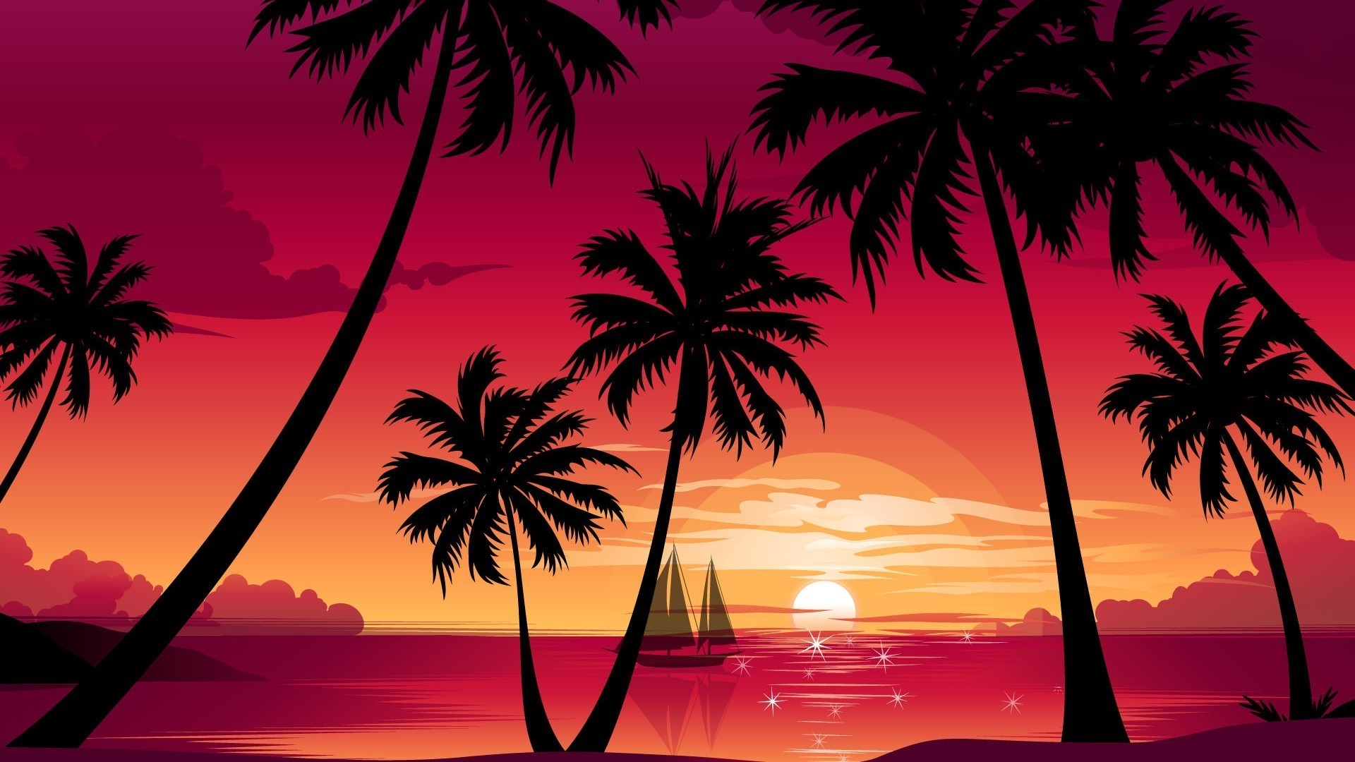 Palm trees,sunset,sailboat