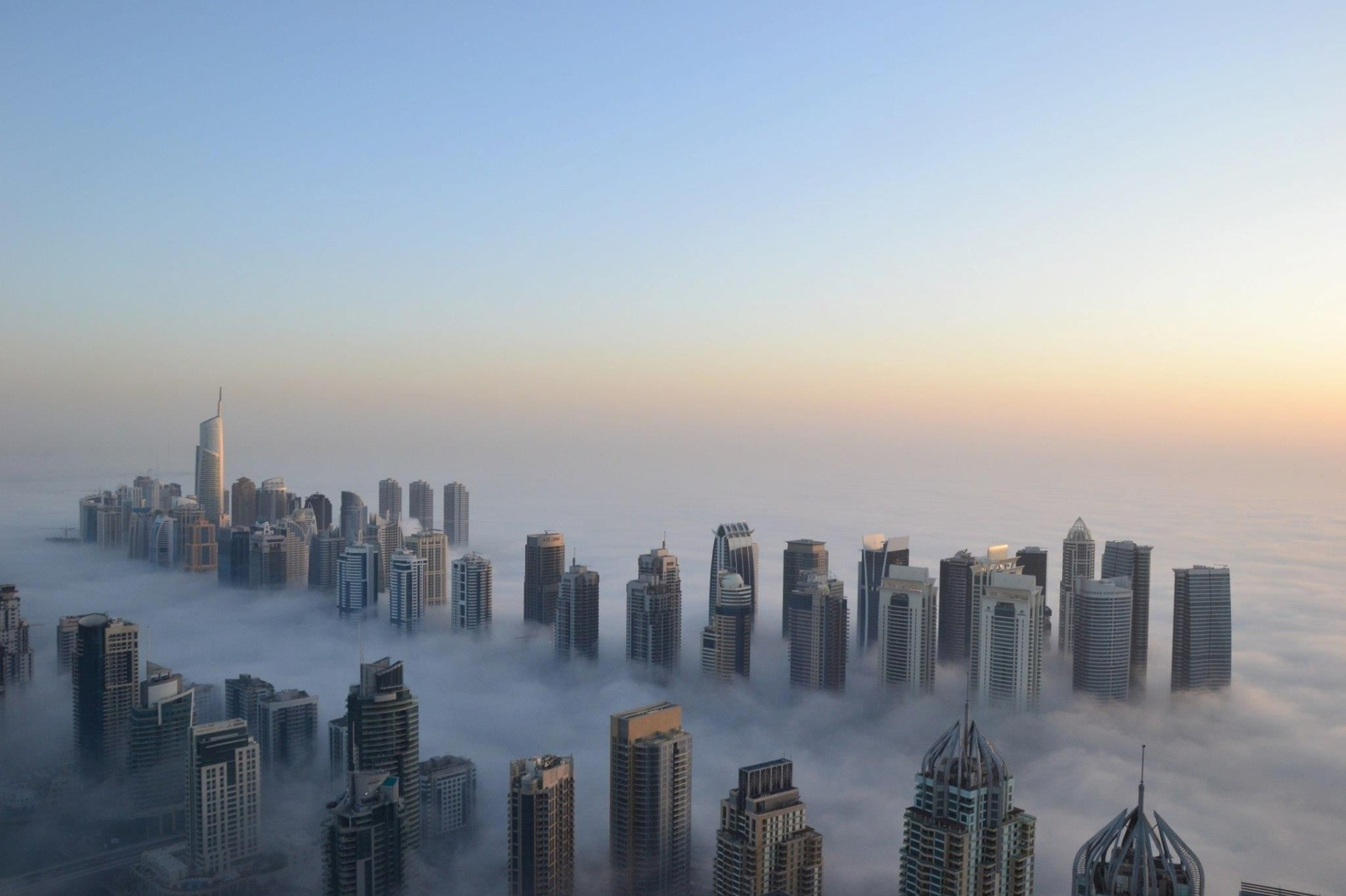 Dense fog in the morning in Dubai