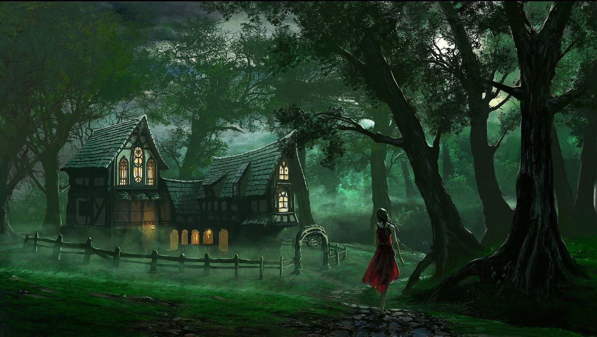 Fabulous house in night forest
