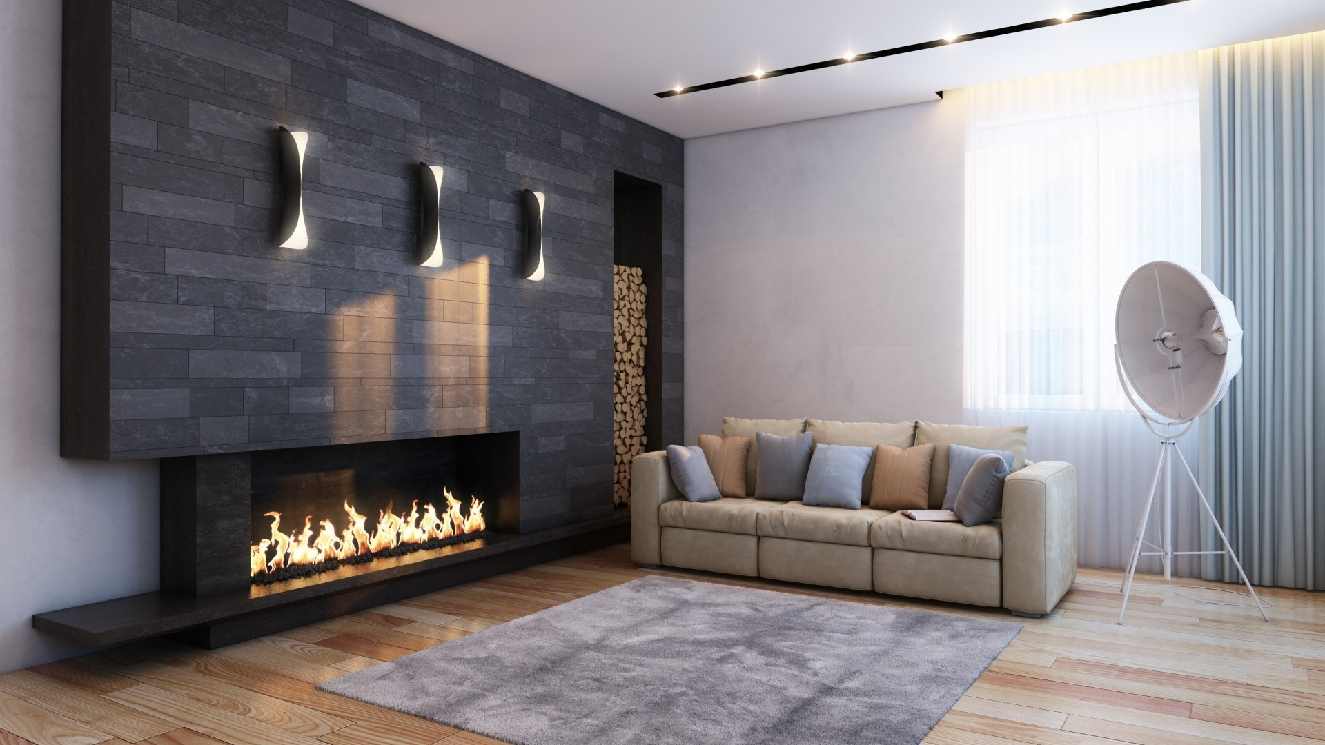 Hall,sofa,artificial fireplace
