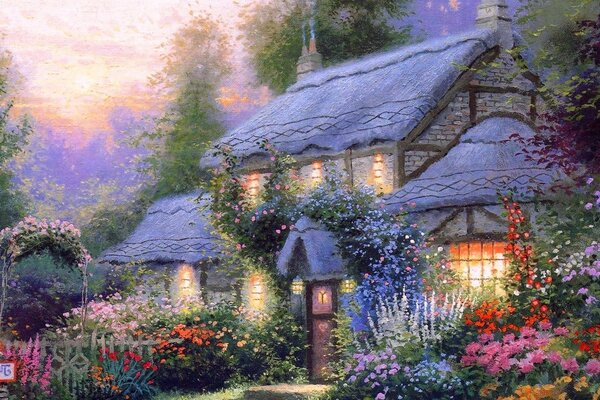 House in flowers