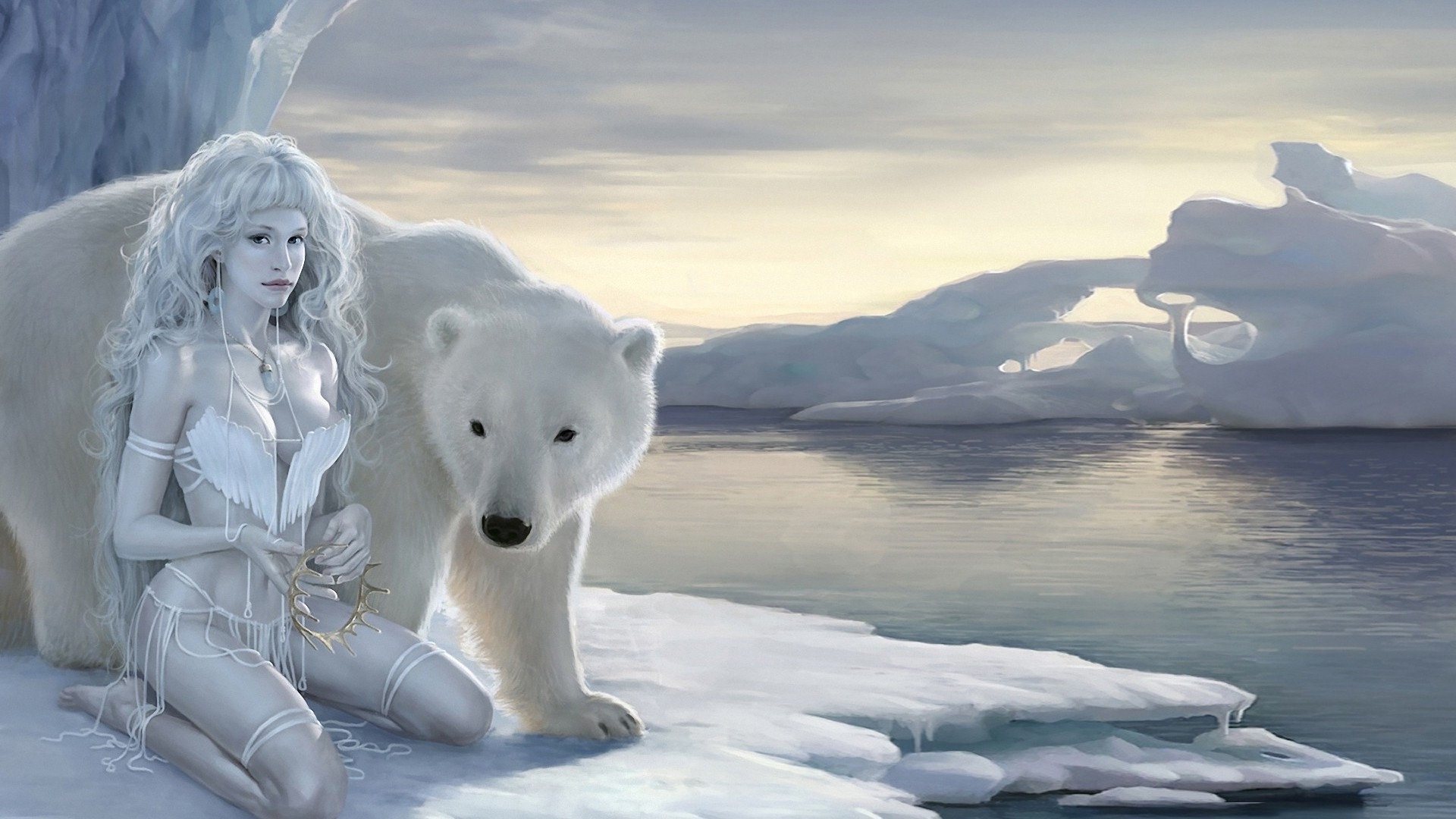 The girl and the polar bear. Android wallpapers for free.