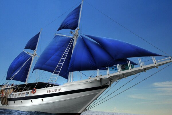 The blue yacht under sail