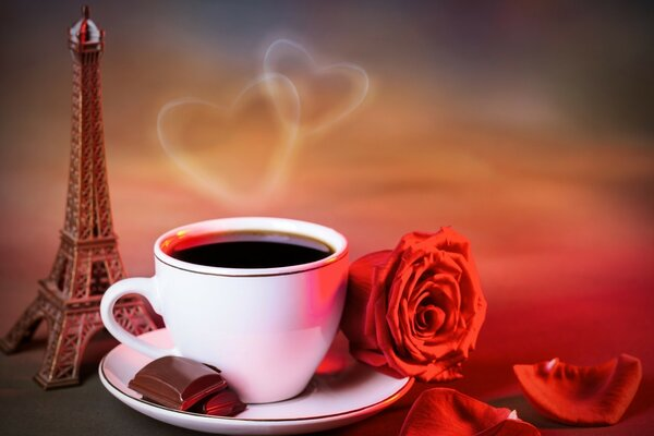 Coffee,rose,love,Paris