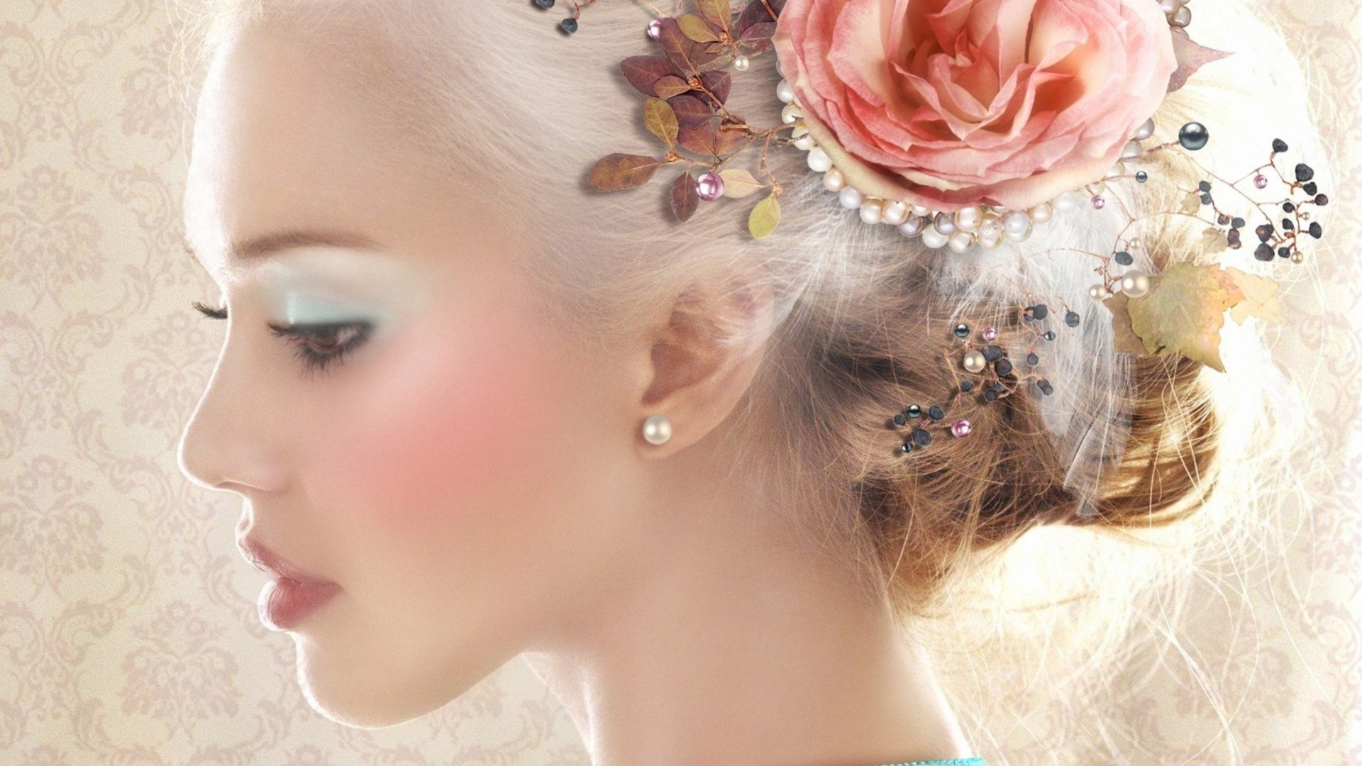The Girl With The Rose In Her Hair Android Wallpapers