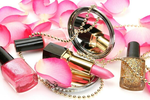 Cosmetics in rose petals
