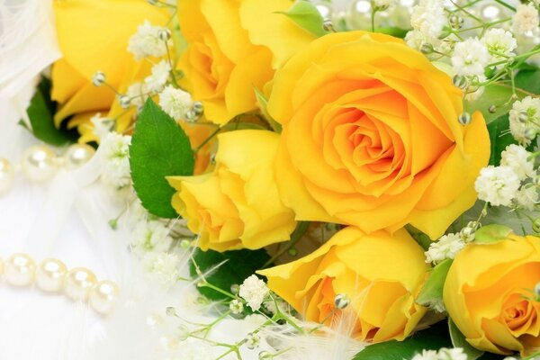 A bouquet of yellow roses.