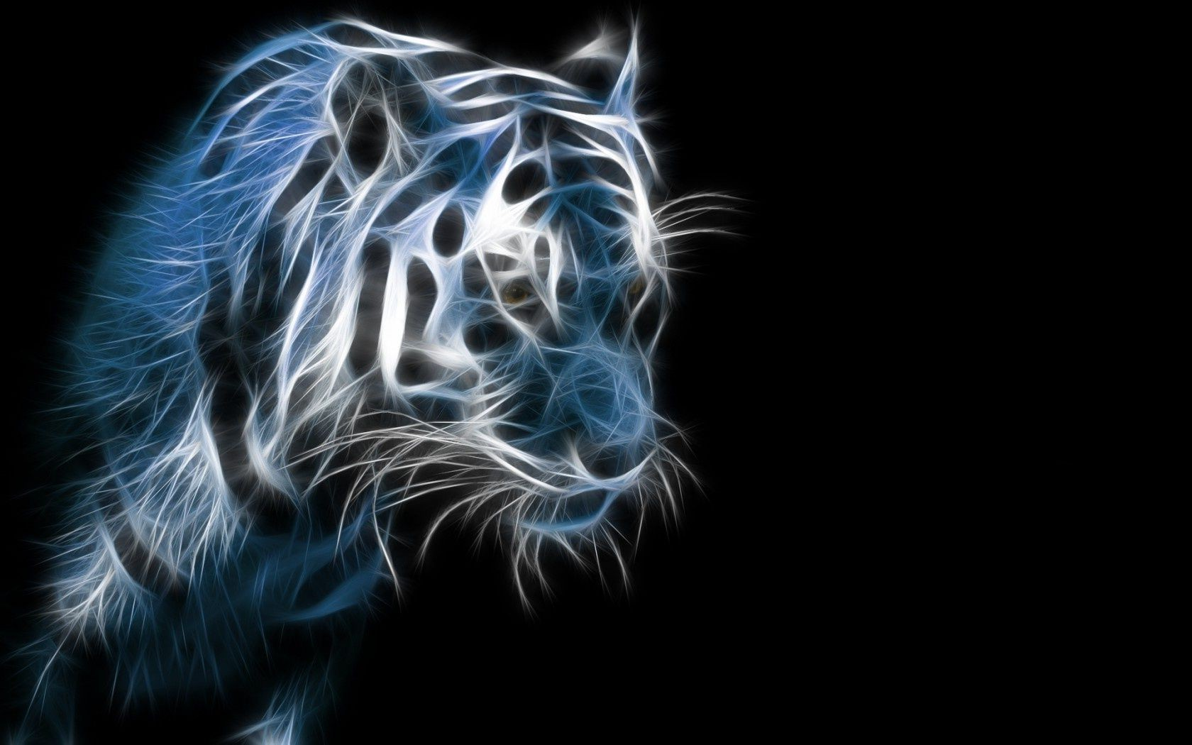 3d tiger dark black background. android wallpapers for free.