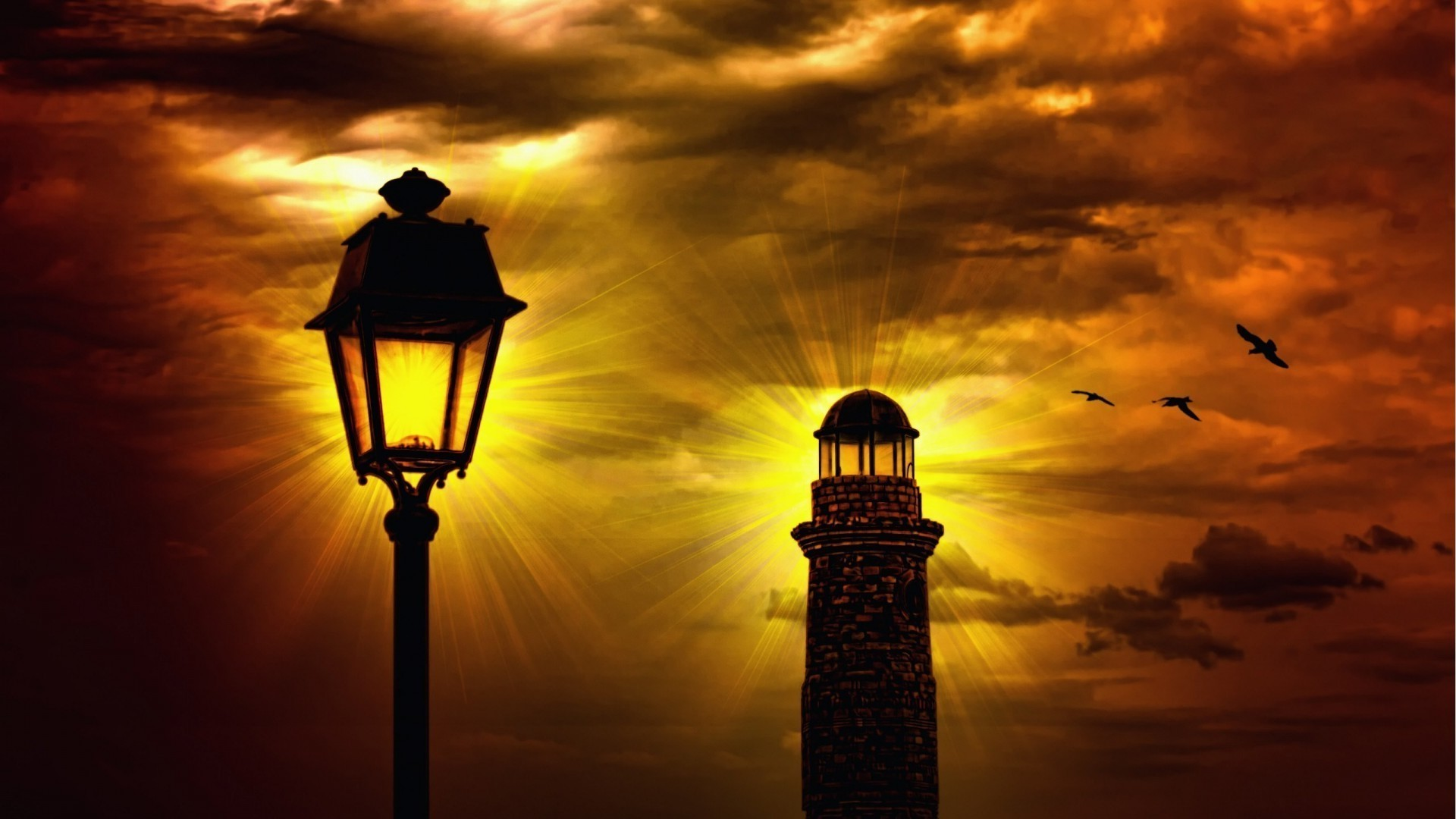 The lighthouse and the lantern against the sky
