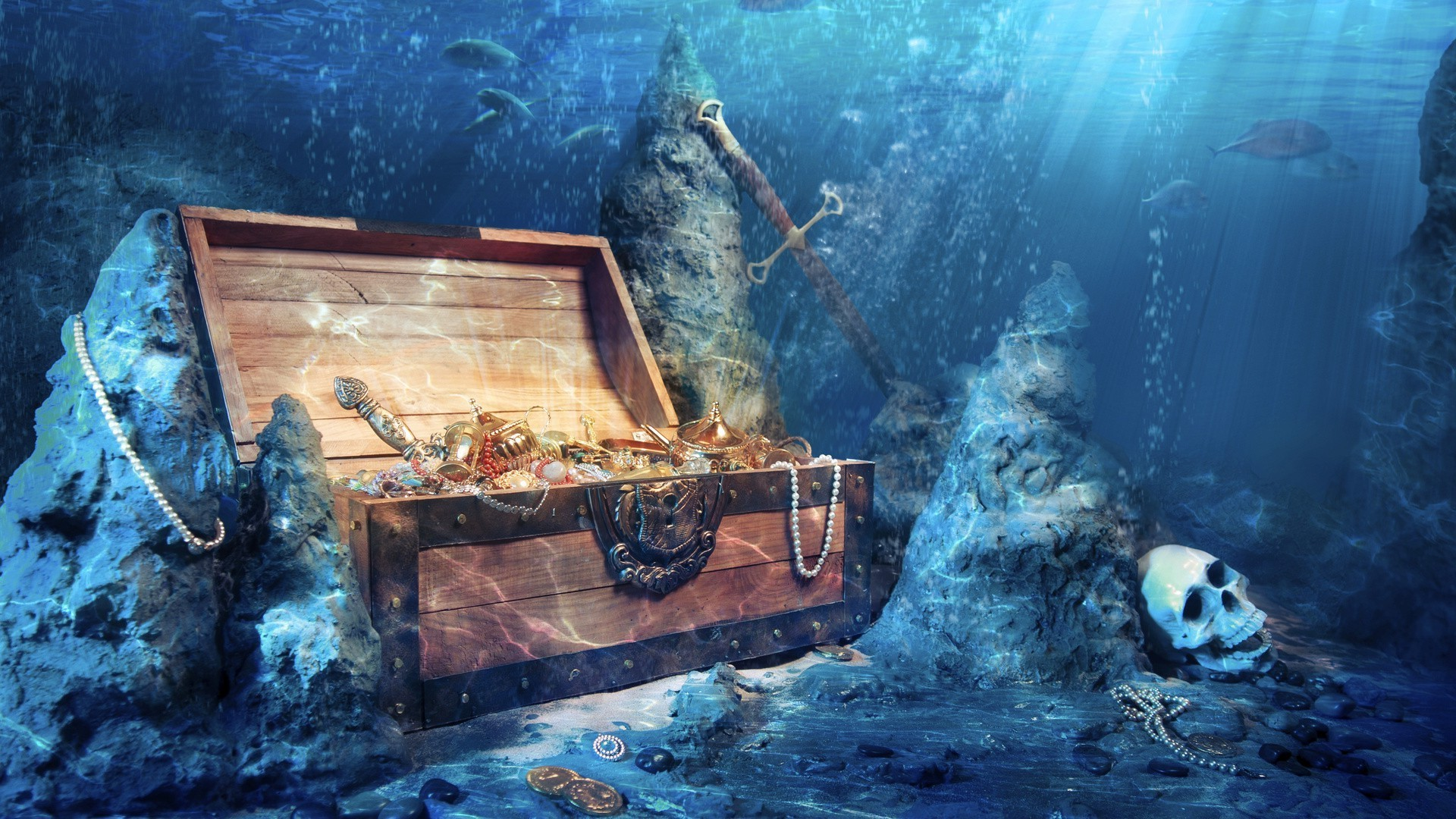the treasure chest at the bottom of the sea android wallpapers for