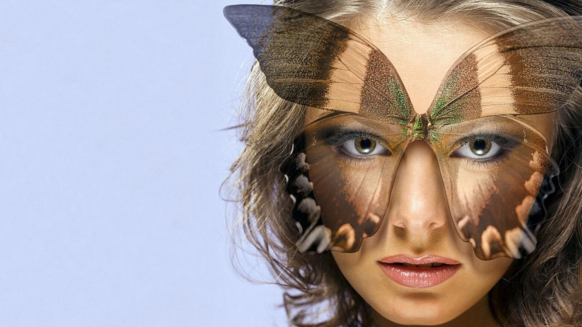 Девушка очки бабочки на телефон