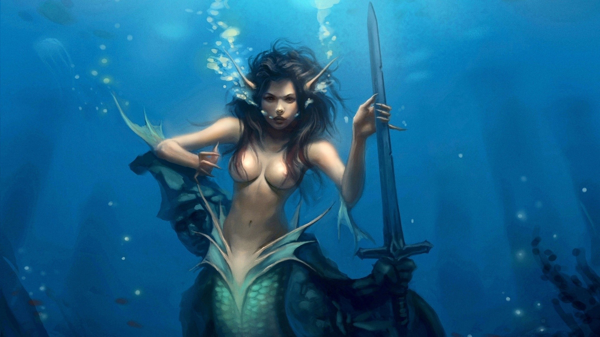 magical animals underwater swimming water woman ocean one adult girl sea water sports fish music portrait