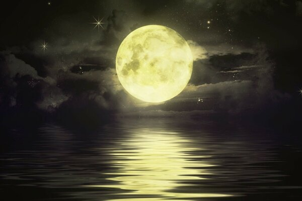 Night,moon,stars,water