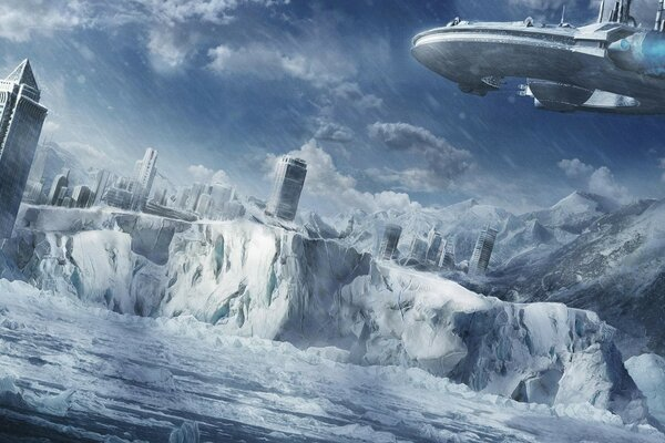Ice age,city,space ship