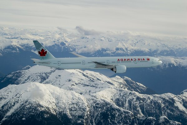 The Air Canada flight over the snowy mountains