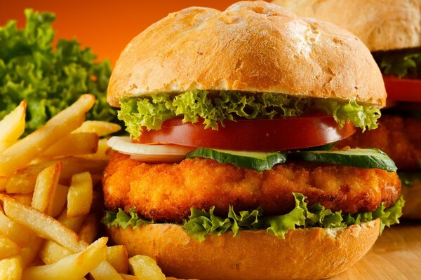 The chicken burgers with crispy fries from McDonald s