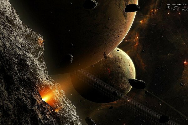 The planet and asteroid