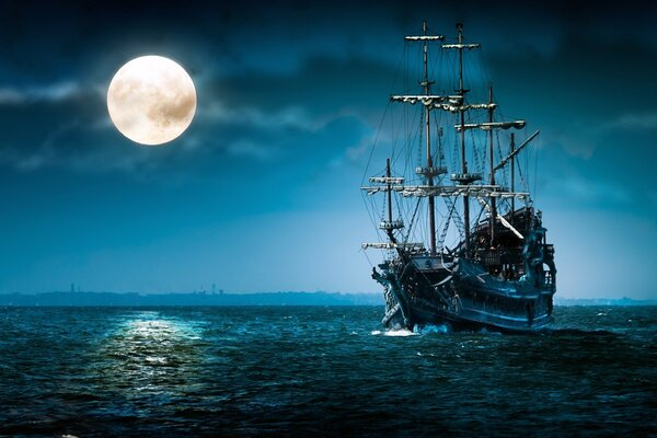 Night,moon,ship in the sea