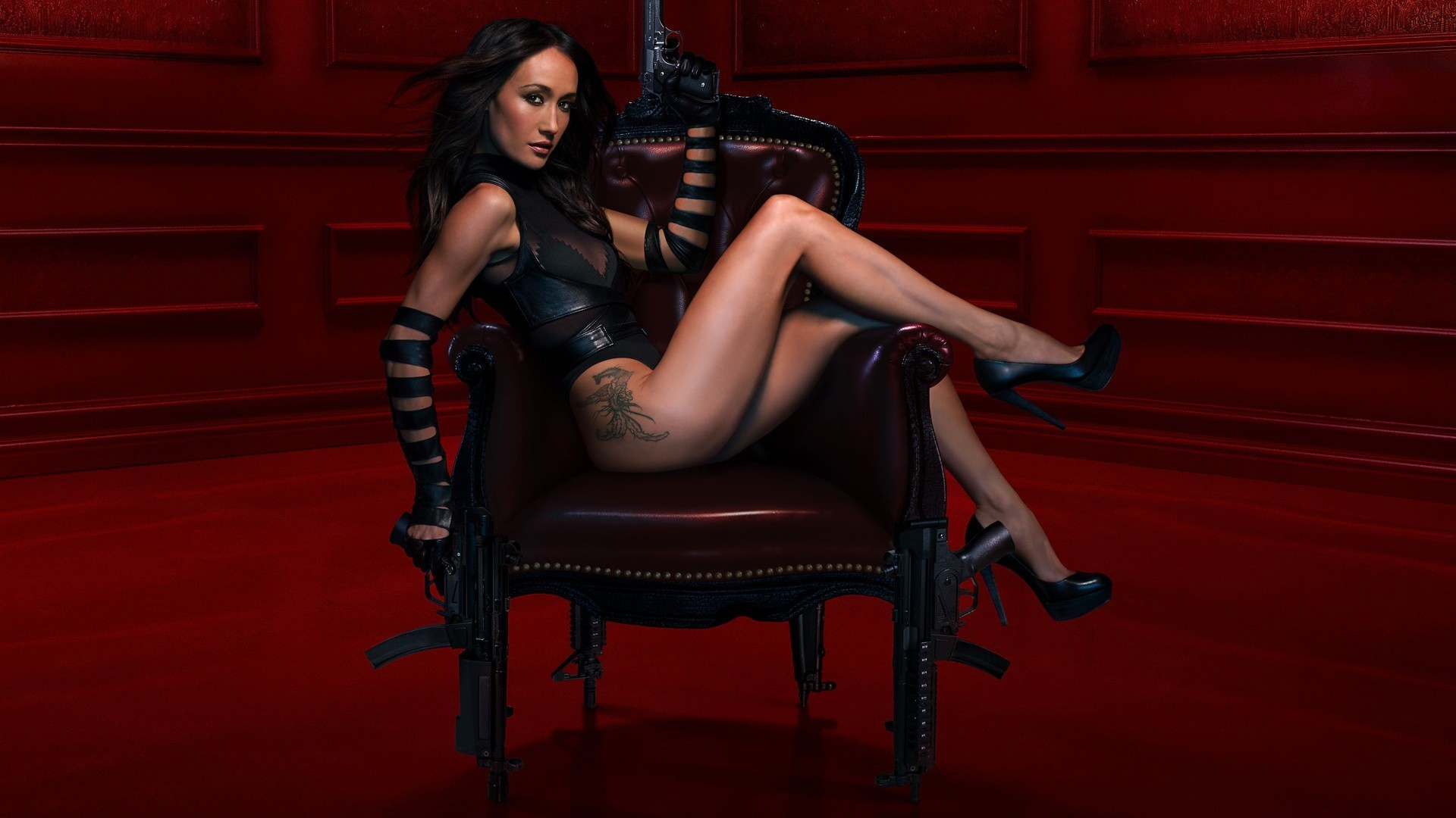 weapons and army sexy woman girl fashion model glamour one lingerie adult erotic portrait nude chair wear seat