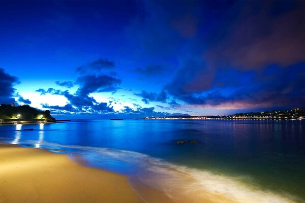 Beautiful city beach at night