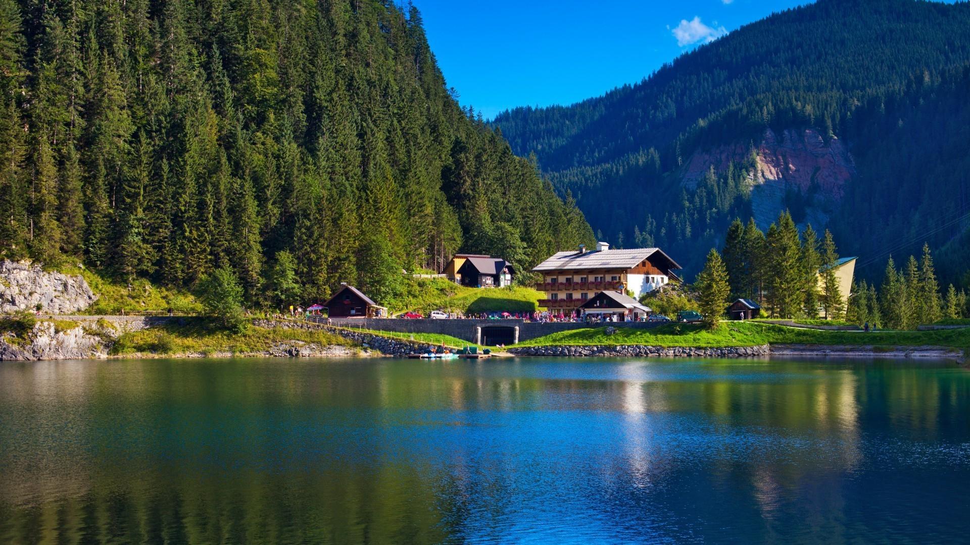 горы озеро домик  № 708584 бесплатно