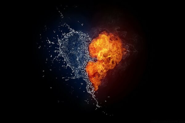 Water And Flames Heart