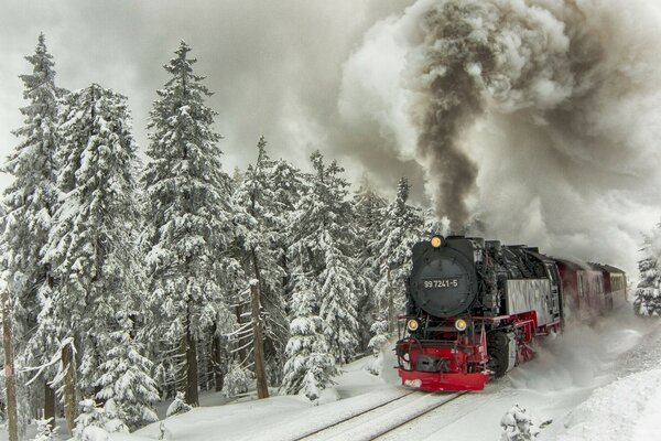 The steam train speeding through the snowy taiga
