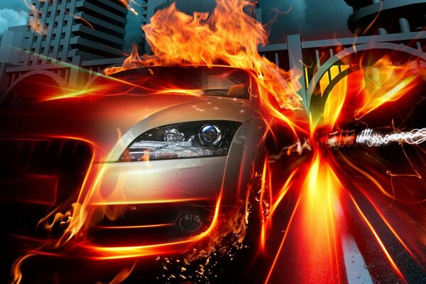 Racing Car Speed Flames