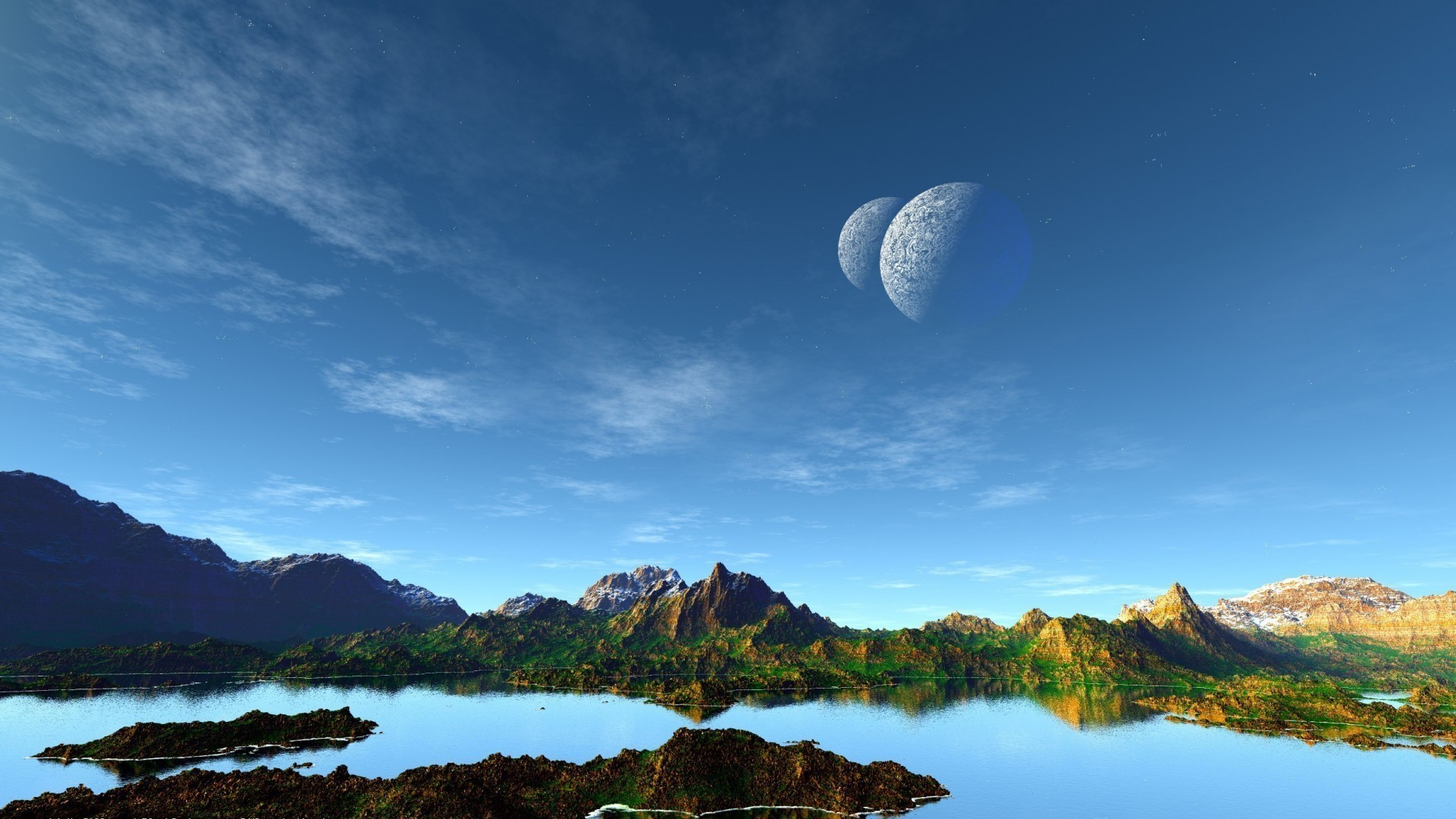 Planet,sky,lake,mountains