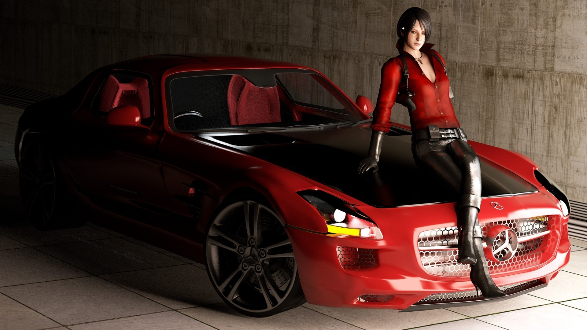 The girl in the red Mercedes-Benz