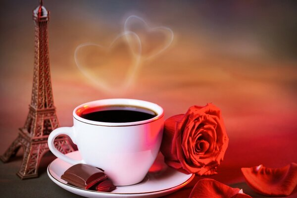 Coffee, chocolate and red rose
