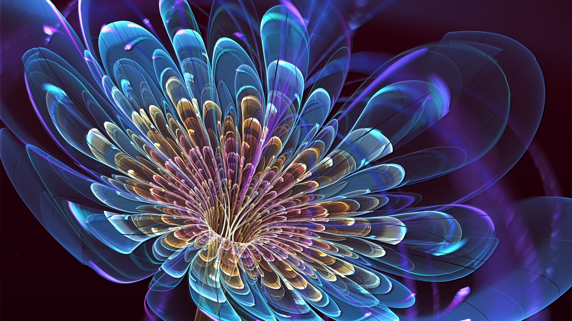 Neon Blue Flower With Golden Petals Phone Wallpapers