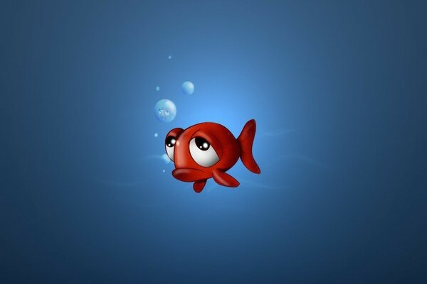 Sad red fish on a blue background