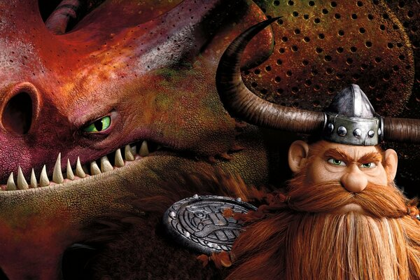 How To Train Your Dragon 2 Stoick and dragon Skullcrusher