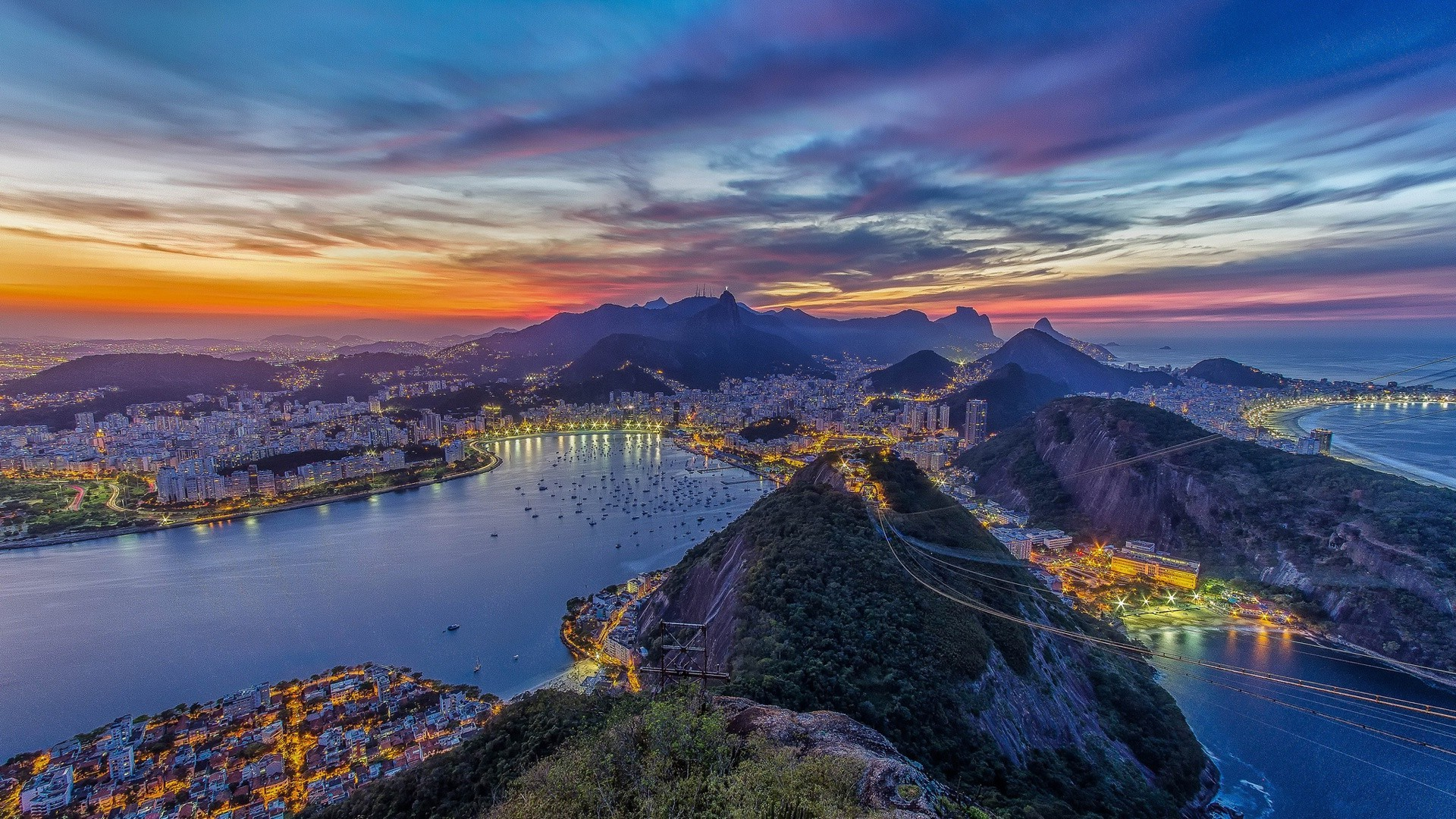 rio de janeiro beautiful view of night city. android wallpapers for