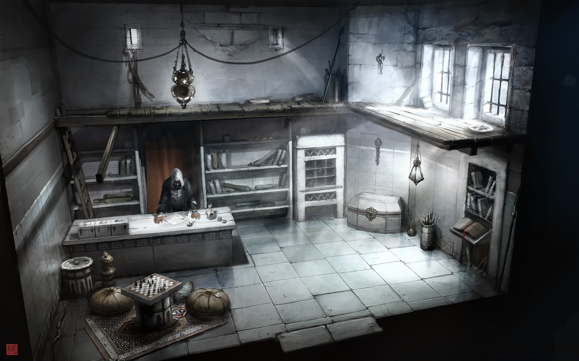 Assassins Creed Interior Building Concept Art Phone Wallpapers