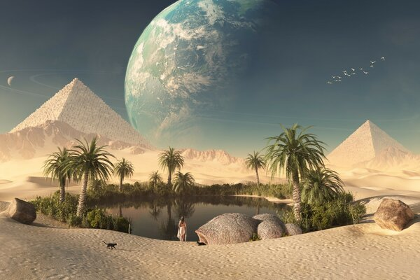 An oasis in the desert to the pyramids in Egypt