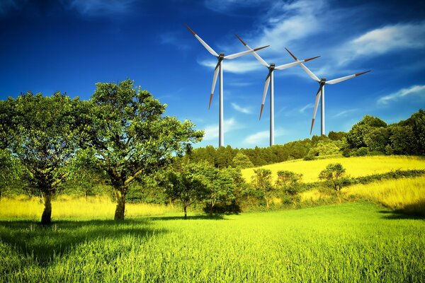 Three wind generator on the hill among the greenery
