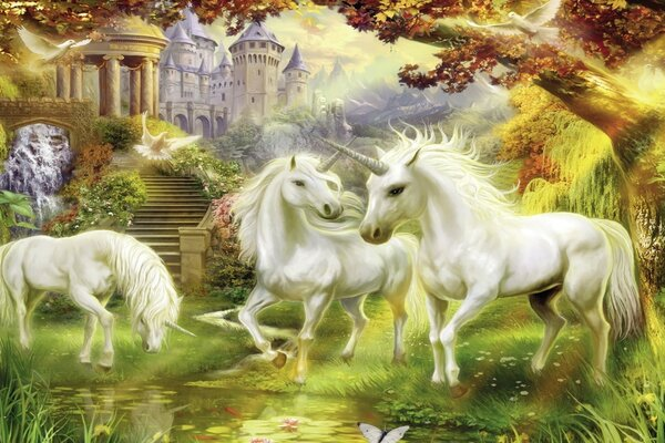 A family of unicorns at the castle in the Park