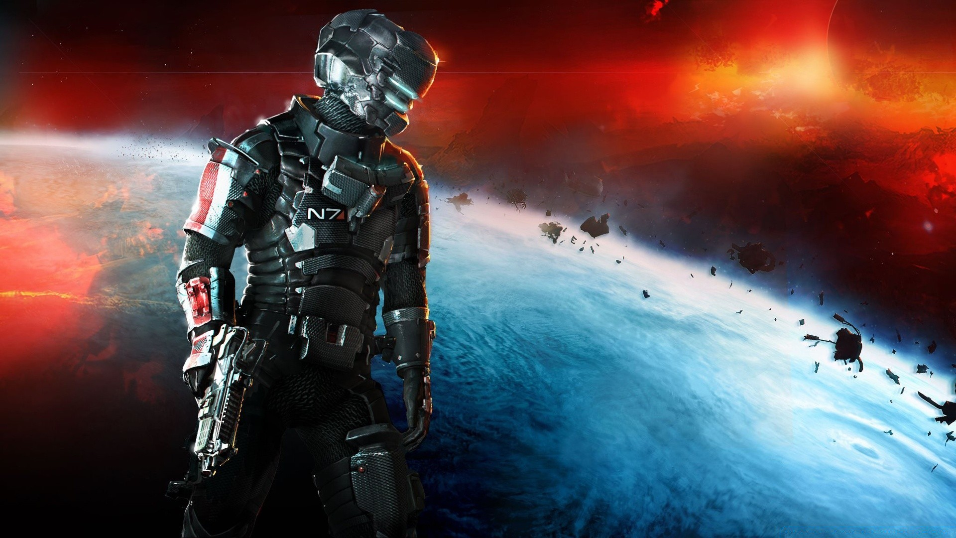 Dead Space 3 Mass Effect N7 Armor Phone Wallpapers