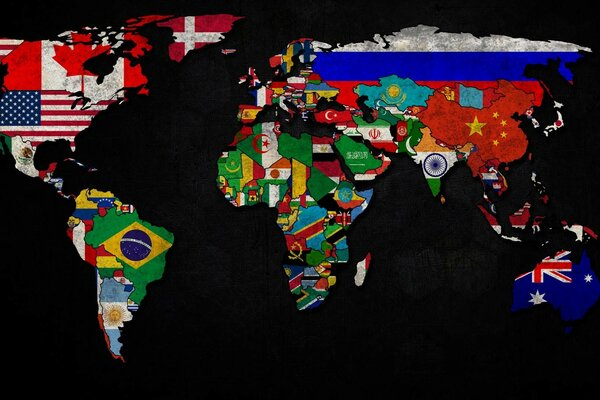World map with flags (old)