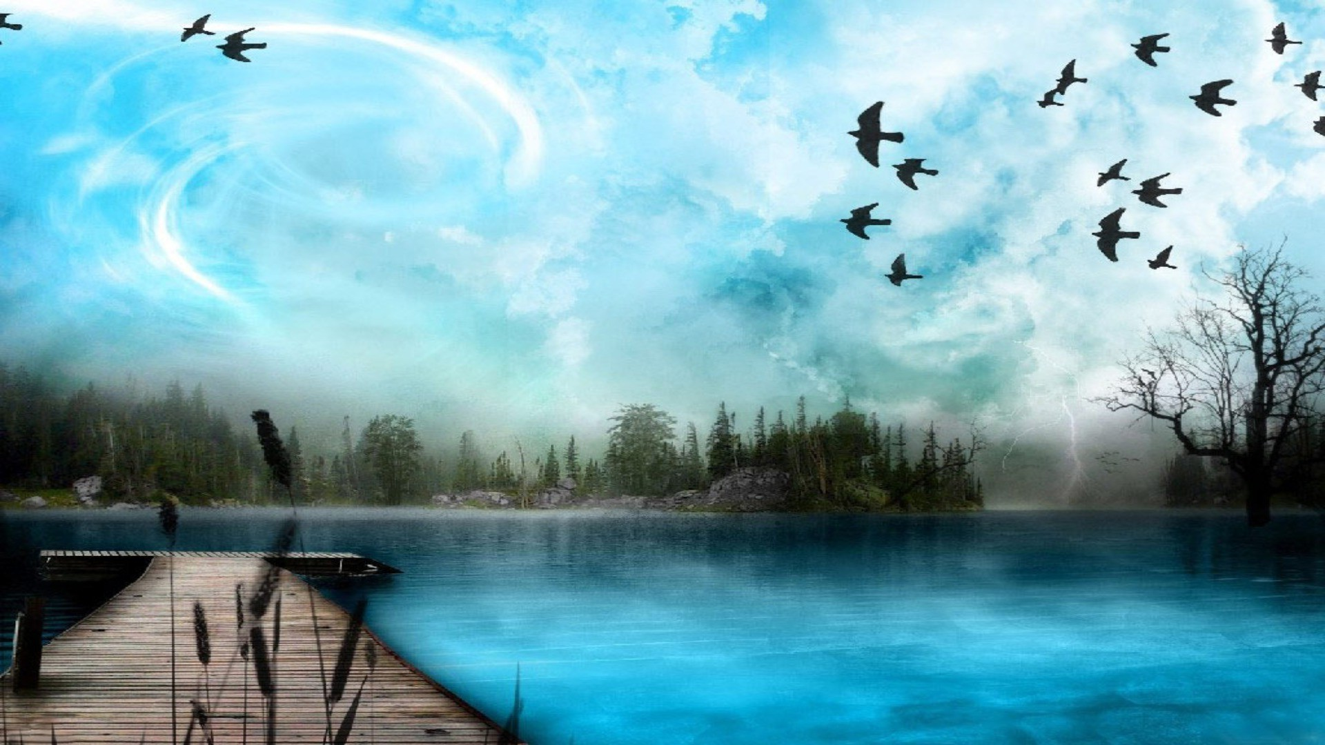Blue expanse of the lake,birds,trees