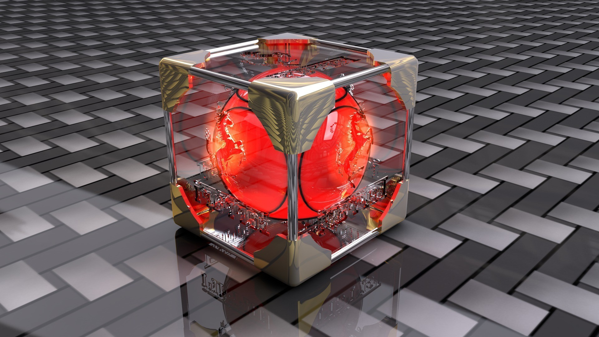 The red ball is placed in a transparent cube