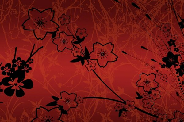 Black flowers on a red background